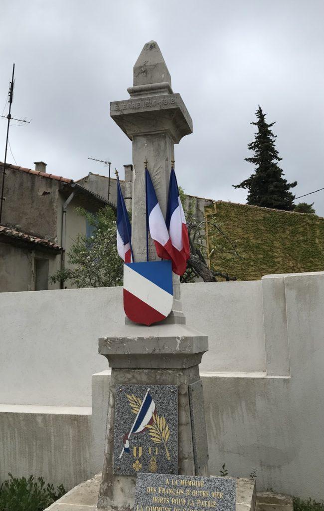 Stèle Mairie Saint-Savournin commémoration 8 mai 2021 non publique suite à la crise sanitaire