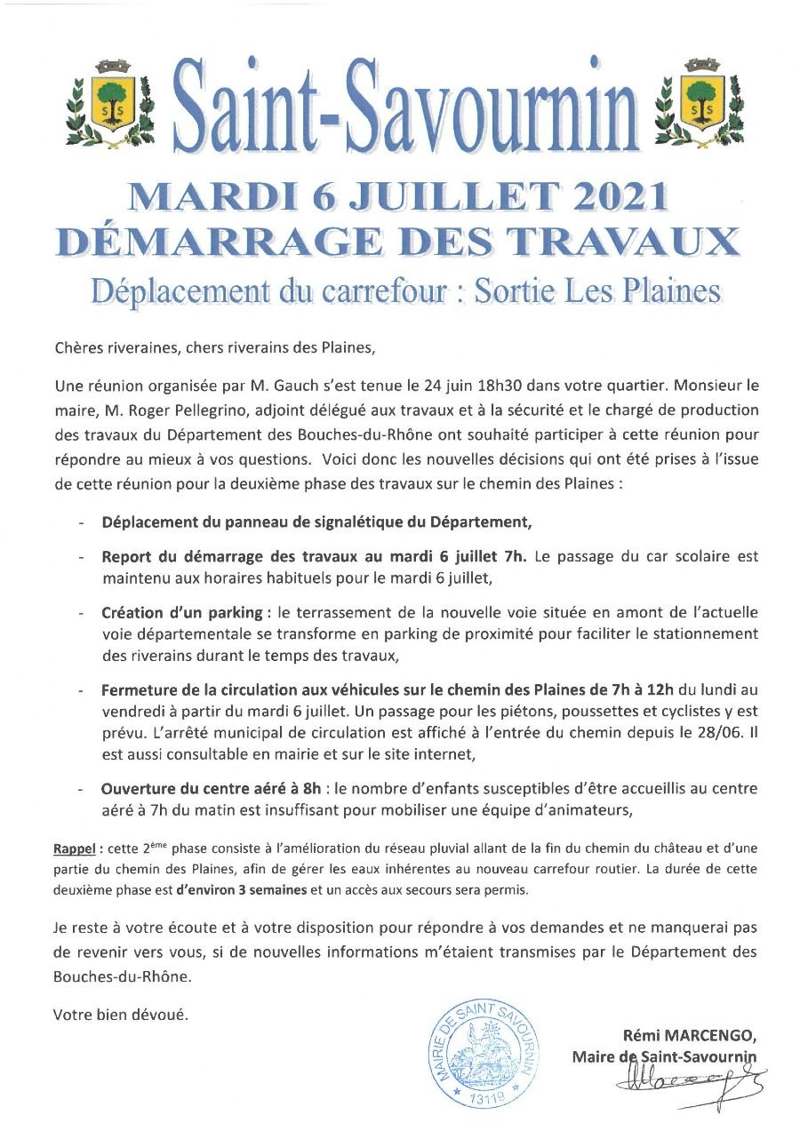 Mairie Saint-Savournin Démarrage travaux chemin des plaines mardi 6 juillet 2021