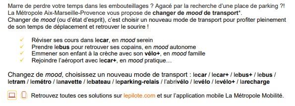 La Mairie de Saint-Savournin relaie la campagne de la marque La Métropole Mobilité