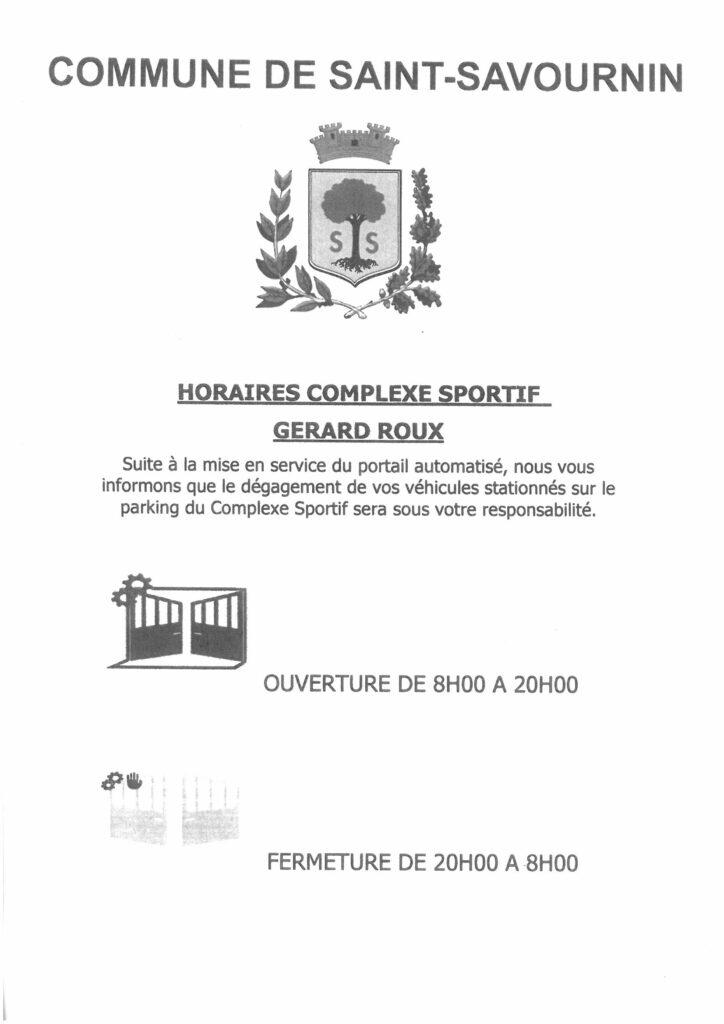 Mairie Saint-Savournin horaires complexe sportif