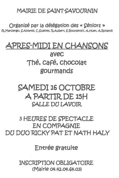 Mairie Saint-Savournin après-midi-en-chansons-16 oct 2021 événement réservé aux séniors