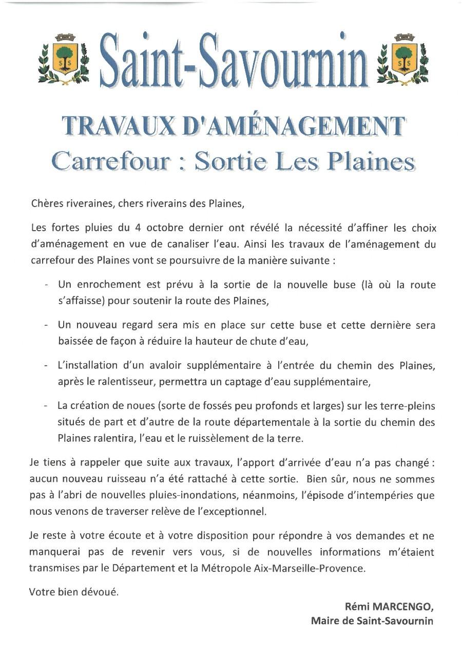 Mairie Saint-Savournin travaux aménagement Les Plaines 8 octobre flyer